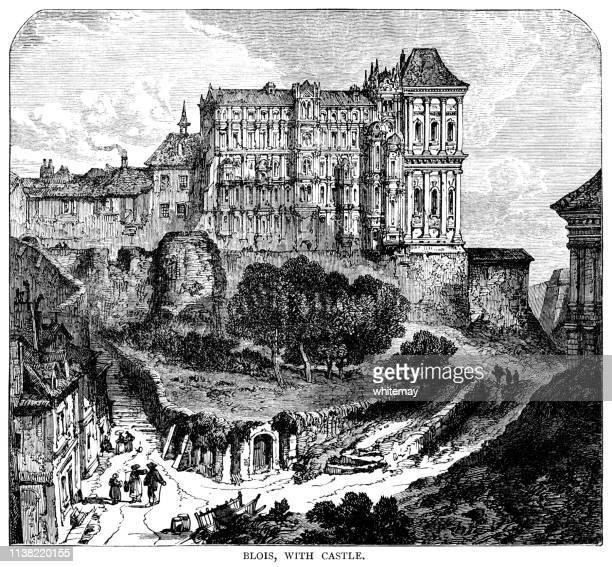 the royal château de blois in blois, france - loire valley stock illustrations, clip art, cartoons, & icons