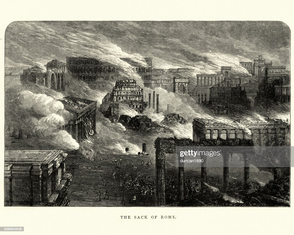 The Sack of Ancient Rome : stock illustration