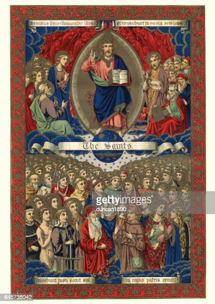 the saints in heaven - religious saint stock illustrations