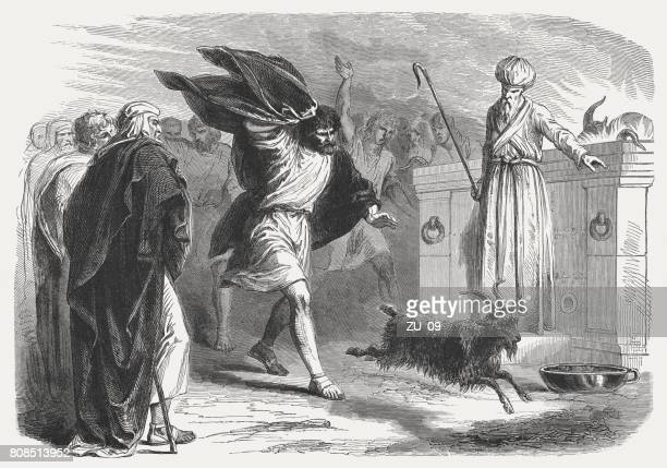 ilustraciones, imágenes clip art, dibujos animados e iconos de stock de el chivo expiatorio en el desierto (16 leveticus), publicado en 1886 - asumir la responsabilidad