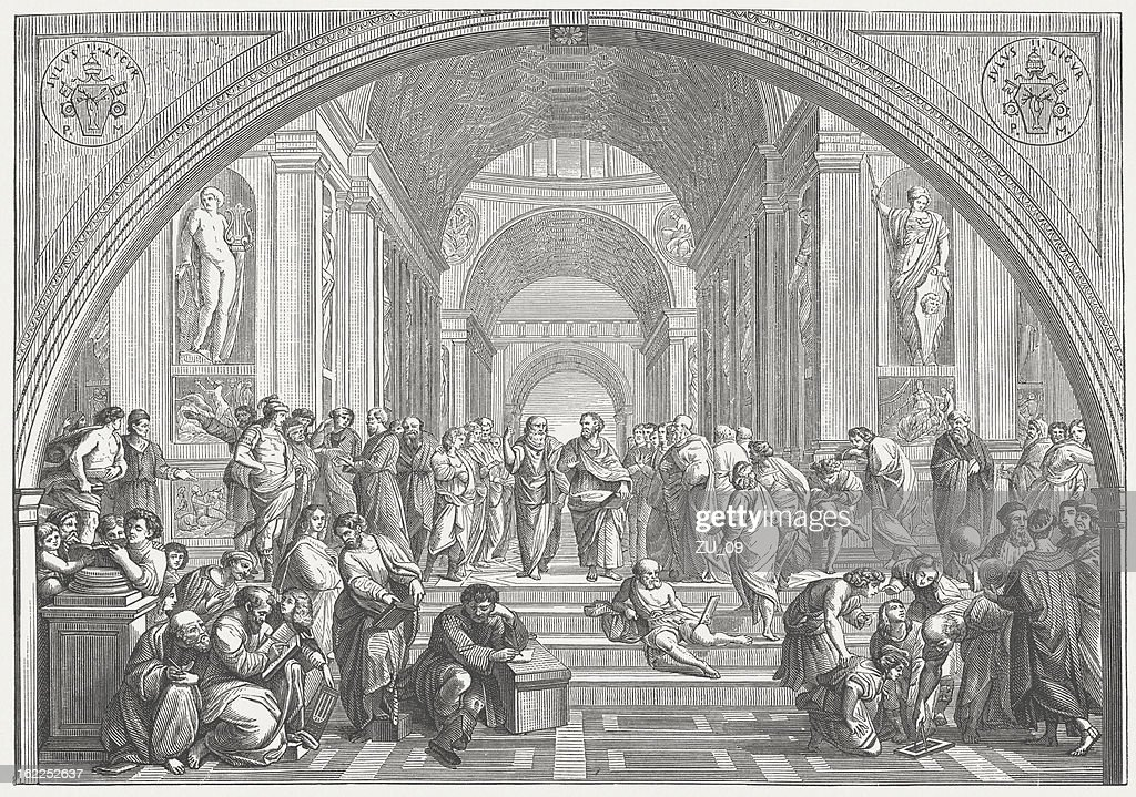The School of Athens (Vatican) by Raffael, published in 1873 : Stock Illustration