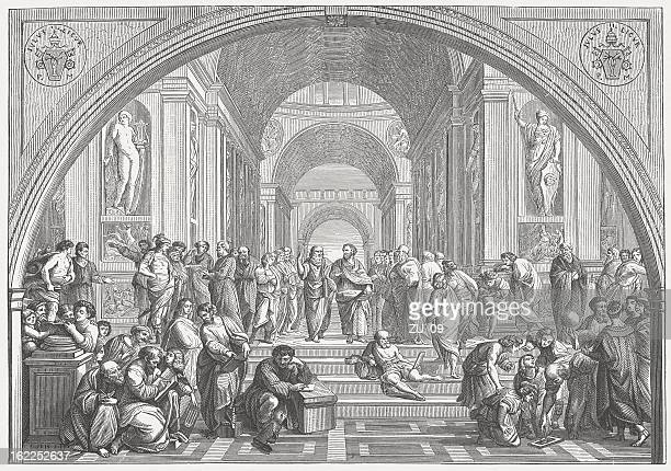 the school of athens (vatican) by raffael, published in 1873 - classical greek style stock illustrations