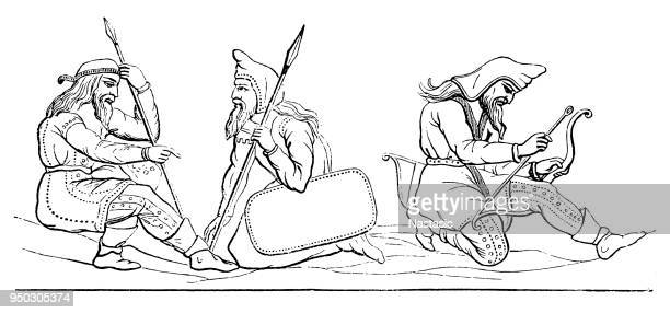 the scythians or scyths were a group of iranian people, known as the eurasian nomads - ancient stock illustrations, clip art, cartoons, & icons
