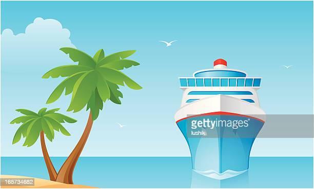 сruise schiff - vorderansicht stock-grafiken, -clipart, -cartoons und -symbole