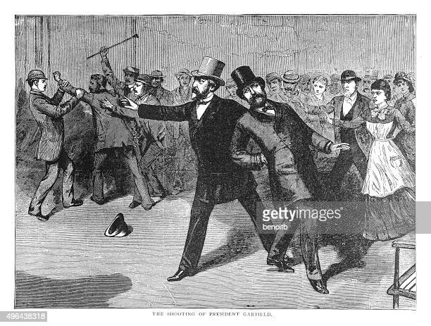 the shooting of president garfield - president stock illustrations, clip art, cartoons, & icons
