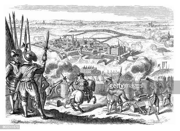 the siege of jülich of 1610, war of the jülich succession, germany - musketeer stock illustrations, clip art, cartoons, & icons