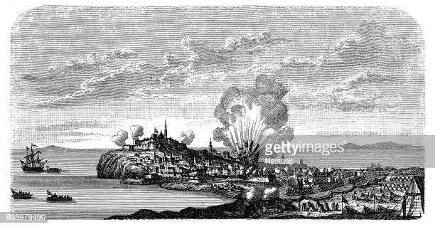 the siege of ochakov ,war between russia, turky and austria , siege of the castle of ochakov (ukraine) on 17 dec. 1788 by the russian troups lead by potemkin. - hundred years war stock illustrations, clip art, cartoons, & icons