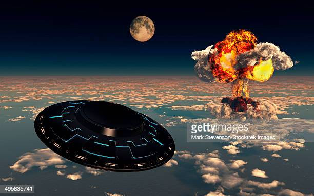 the sightings of ufo's has dramatically increased since the exploding of the first atomic bomb. - radioactive contamination stock illustrations