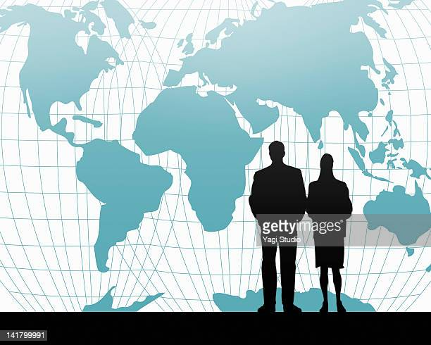 The silhouette of the working person,Global map