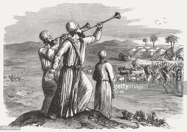 stockillustraties, clipart, cartoons en iconen met de zilveren trompetten (nummers 10, 1-10), houtgravure, 1886 gepubliceerd - kapel