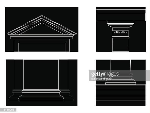 ilustrações, clipart, desenhos animados e ícones de o pedido semelhante dórico - pediment
