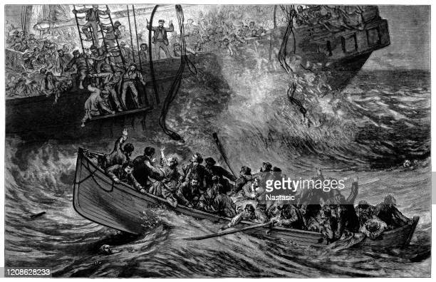 the sinking of ville du havre - lifeboat stock illustrations