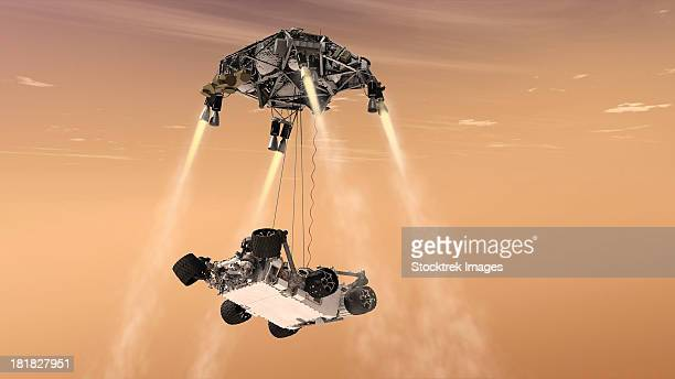 the sky crane maneuver during the descent of nasa's curiosity rover. - landing touching down stock illustrations