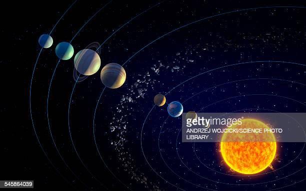 the solar system, illustration - solar system stock illustrations