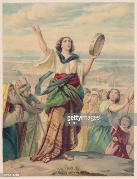 ilustrações de stock, clip art, desenhos animados e ícones de the song of miriam (exodus 15, 20-21), chromolithograph, published 1886 - pandeiro