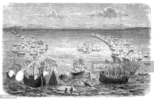 スペインの無敵艦隊を攻撃しました。 - 17世紀点のイラスト素材/クリップアート素材/マンガ素材/アイコン素材