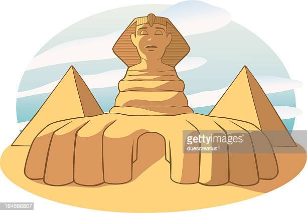 the sphinx and pyramids - egypt - the sphinx stock illustrations, clip art, cartoons, & icons