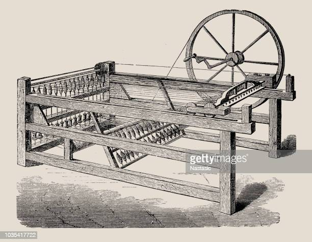 the spinning jenny is a multi-spindle spinning frame, and was one of the key developments in the industrialization of weaving during the early industrial revolution - spinning stock illustrations