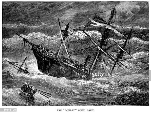 the ss london going down - bay of biscay stock illustrations, clip art, cartoons, & icons