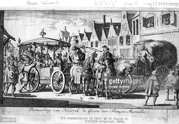 The stabbing and assassination of Henry IV of France in 1810 by Catholic extremist Francois Ravaillac , in Rue Saint-Antoine, Paris, 1610. Original...