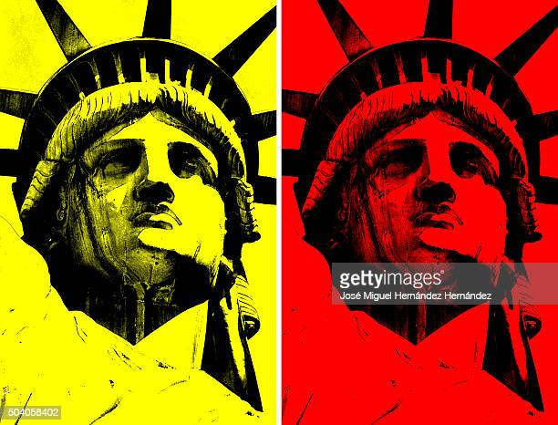 the statue of liberty pop art style (primary colors) - rojo stock illustrations