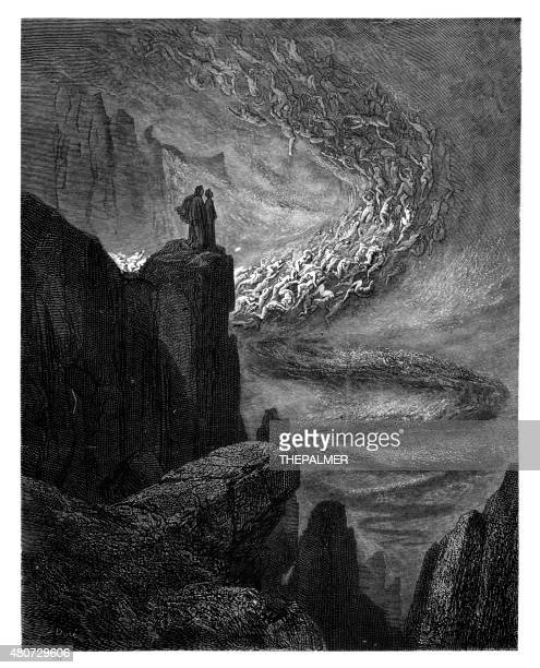 the stormy blast of hell engraving - gustave dore stock illustrations, clip art, cartoons, & icons