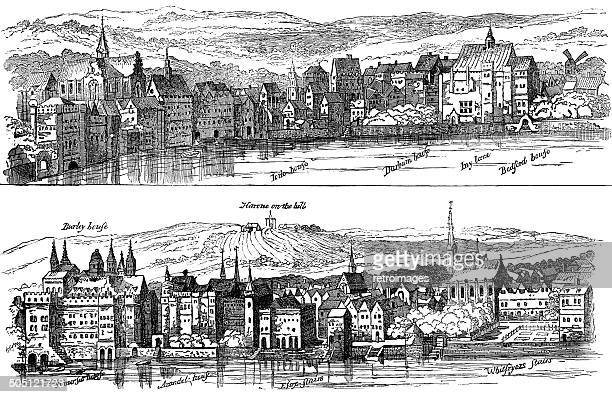 the strand from the thames, sixteenth century, london (illustration) - 16th century style stock illustrations, clip art, cartoons, & icons