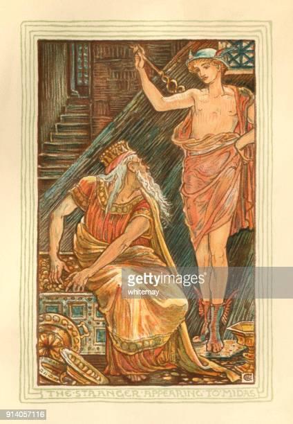 the stranger appearing to midas - greek mythology - greek mythology stock illustrations, clip art, cartoons, & icons