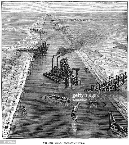 the suez canal dredges at work - suez canal stock illustrations