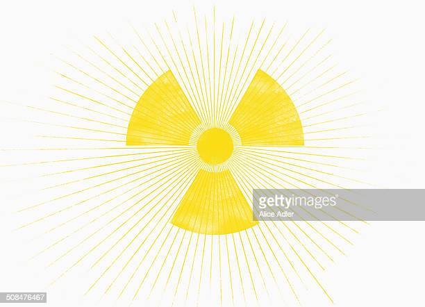 the sun in shape of a radioactive warning symbol - radioactive contamination stock illustrations