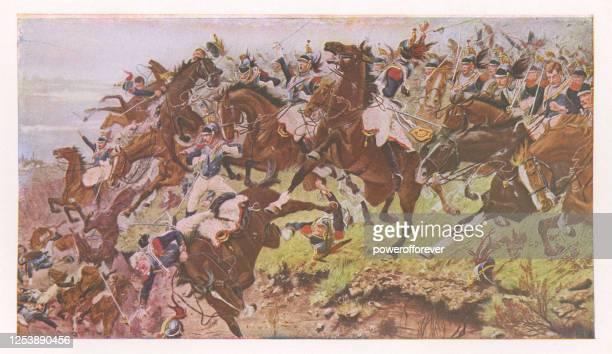 the sunken road of ohain: an incident in the battle of waterloo von stanley berkeley - 19. jahrhundert - kunstgemälde stock-grafiken, -clipart, -cartoons und -symbole