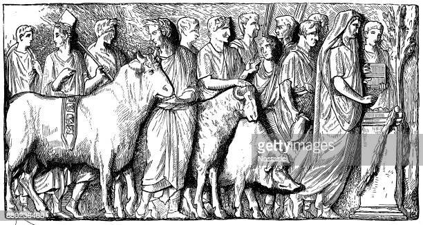 The suovetaurilia or suovitaurilia, sacred and traditional sacrifice of a pig, a sheep and a bull to the Mars to bless and purify land
