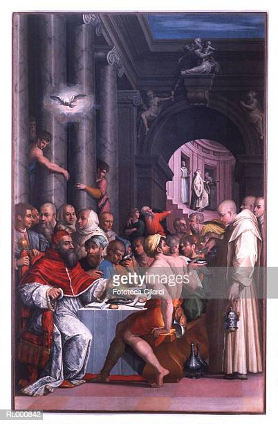 the supper of st. gregory the great - bologna stock illustrations, clip art, cartoons, & icons