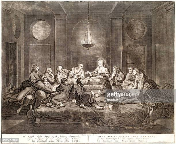the supper of the lord, 18th century bible - last supper stock illustrations