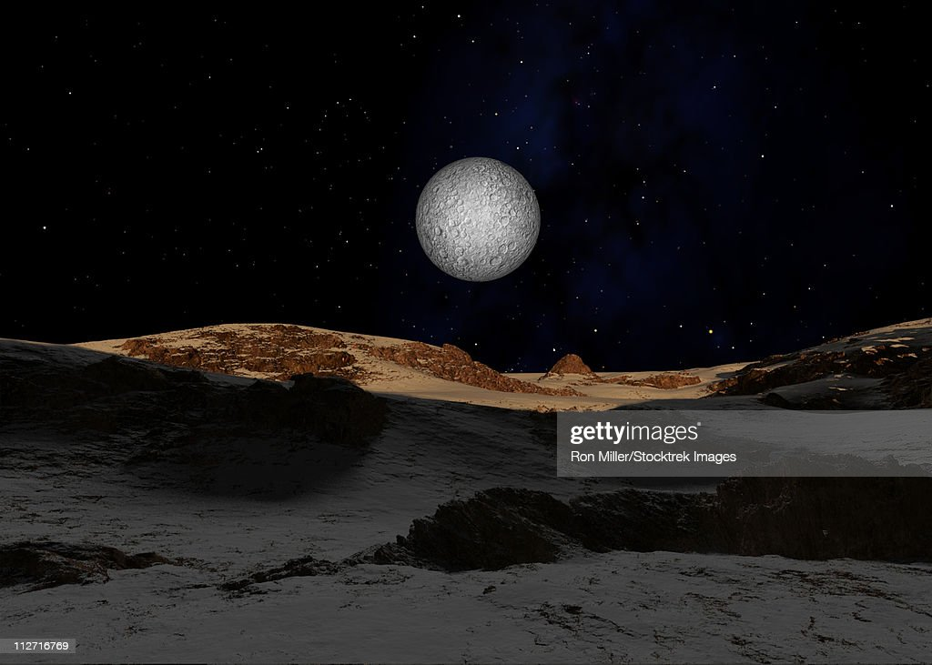 The Surface Of Pluto With Charon In The Sky High Res Vector