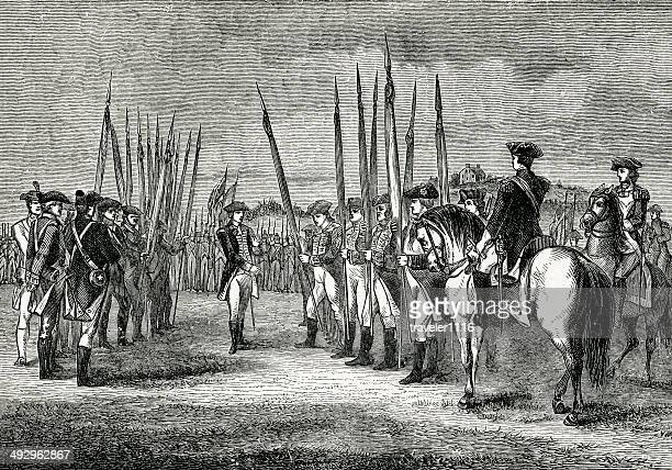 the surrender of cornwallis - american revolution stock illustrations, clip art, cartoons, & icons