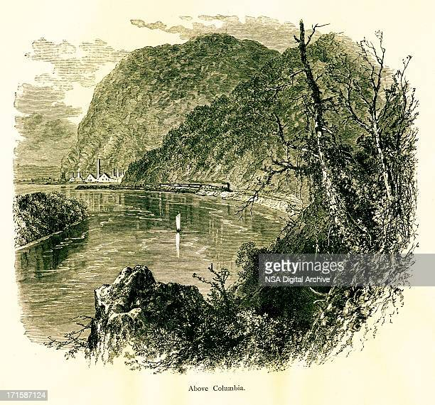 The Susquehanna River above Columbia, USA, wood engraving (1872)