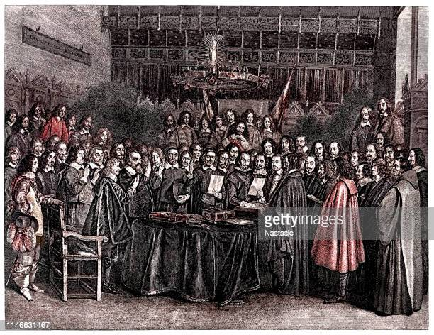 the swearing of the oath of ratification of the treaty of westphalia at munster, 24th october 1648 - north rhine westphalia stock illustrations