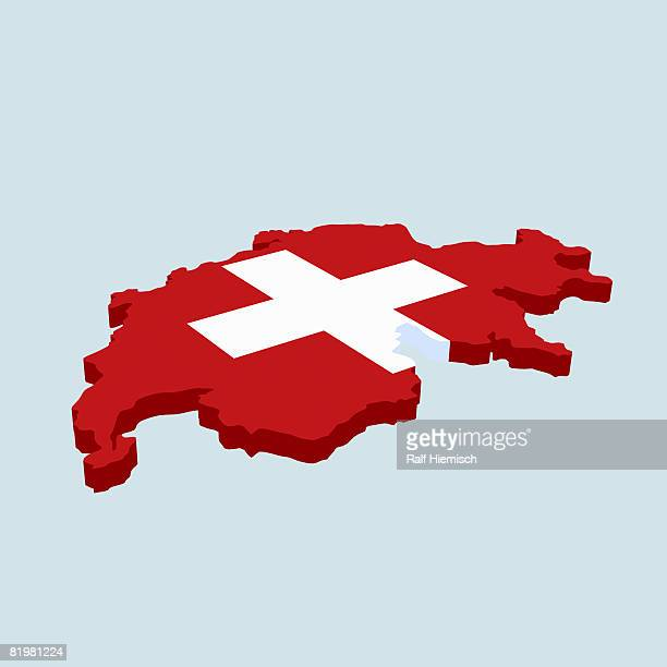 the swiss flag in the shape of switzerland - swiss culture stock illustrations