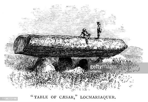 the table of caesar, locmariaquer, france - megalith stock illustrations, clip art, cartoons, & icons