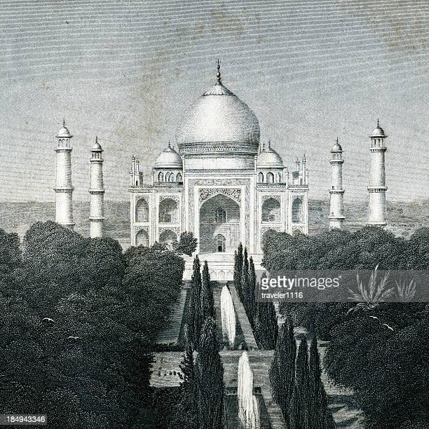 ilustrações, clipart, desenhos animados e ícones de o taj mahal - taj mahal