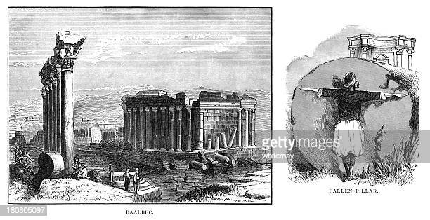 the temple of jupiter in baalbek in lebanon - lebanon country stock illustrations, clip art, cartoons, & icons