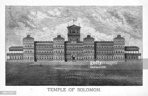 the temple of solomon engraving - temple building stock illustrations, clip art, cartoons, & icons
