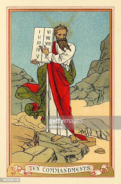 この十戒(ビクトリア様式の宗教ブックプレート) - 宗教的人物 モーゼ点のイラスト素材/クリップアート素材/マンガ素材/アイコン素材