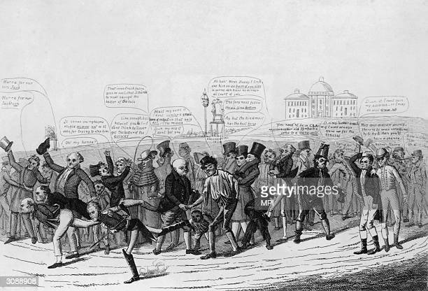 The three candidates in the 1824 US presidential election take part in a foot race toward the White House, watched by cheering crowds. John Quincy...