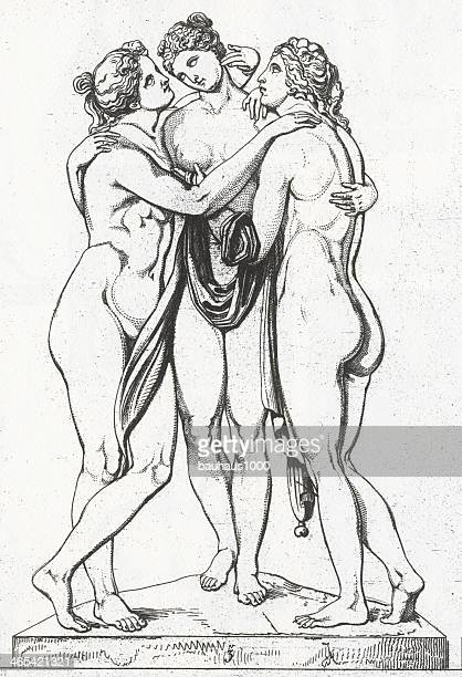 the three graces engraving - greek people stock illustrations, clip art, cartoons, & icons