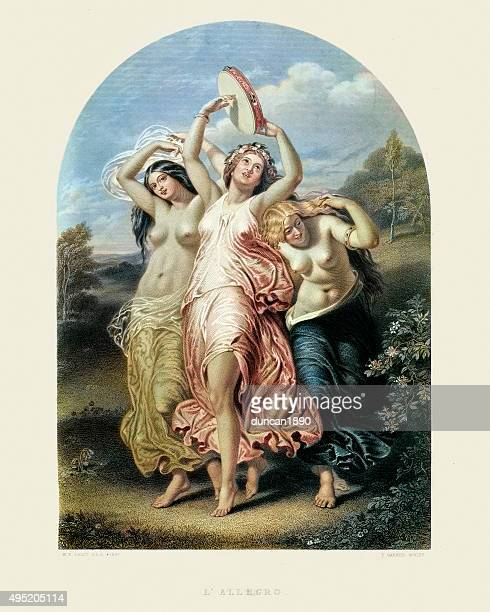 illustrazioni stock, clip art, cartoni animati e icone di tendenza di i tre decora-l'allegro william edward frost - mitologia greca