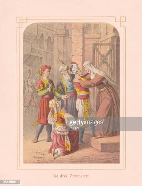 The three sisters, fairy tale from Arabian Nights, lithograph, 1867