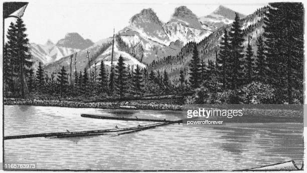 the three sisters mountains in the canadian rockies of alberta, canada - 19th century - canadian rockies stock illustrations