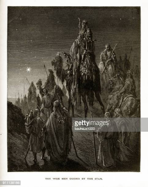 The Three Wise Men Guided by the Star Biblical Engraving